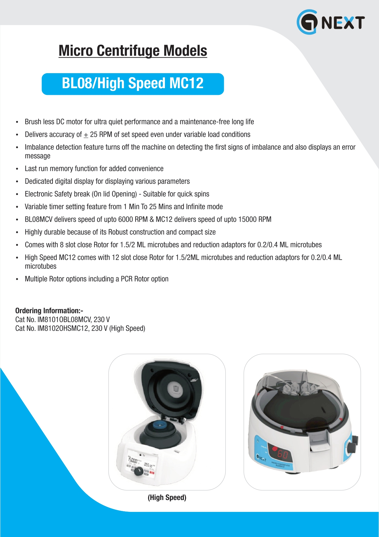 Micro Centrifuge Normal and High Speed